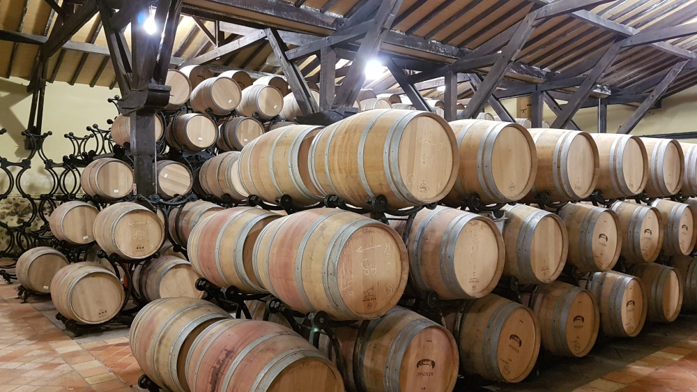 Stacked barrels of Balthus wine
