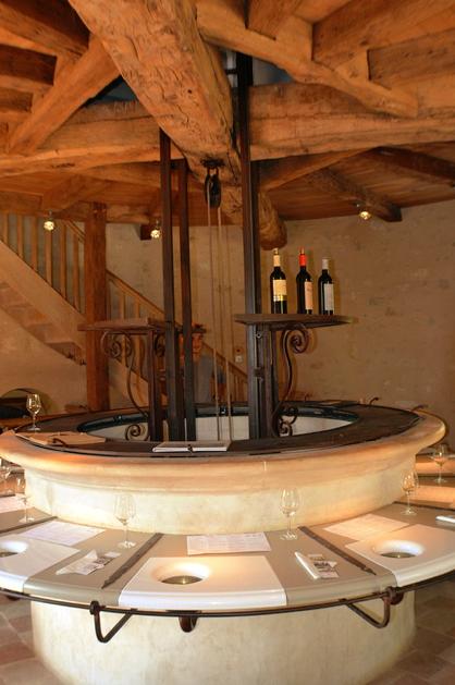 Tasting room wine elevator