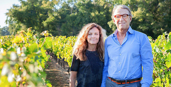 Yves and Stephanie Vatelot in the vineyard