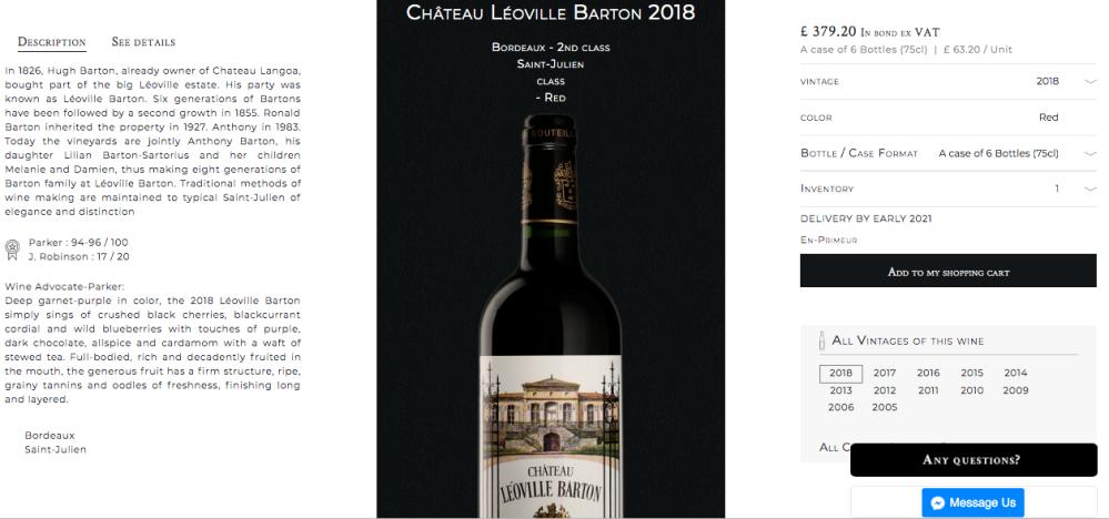 Chateau Leoville Barton Millesima EP