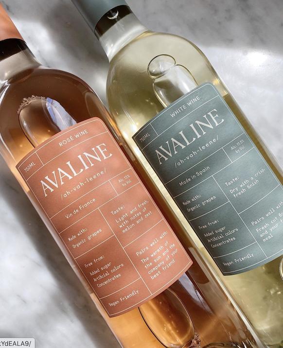 Avaline wine bottles - Rose and White wine