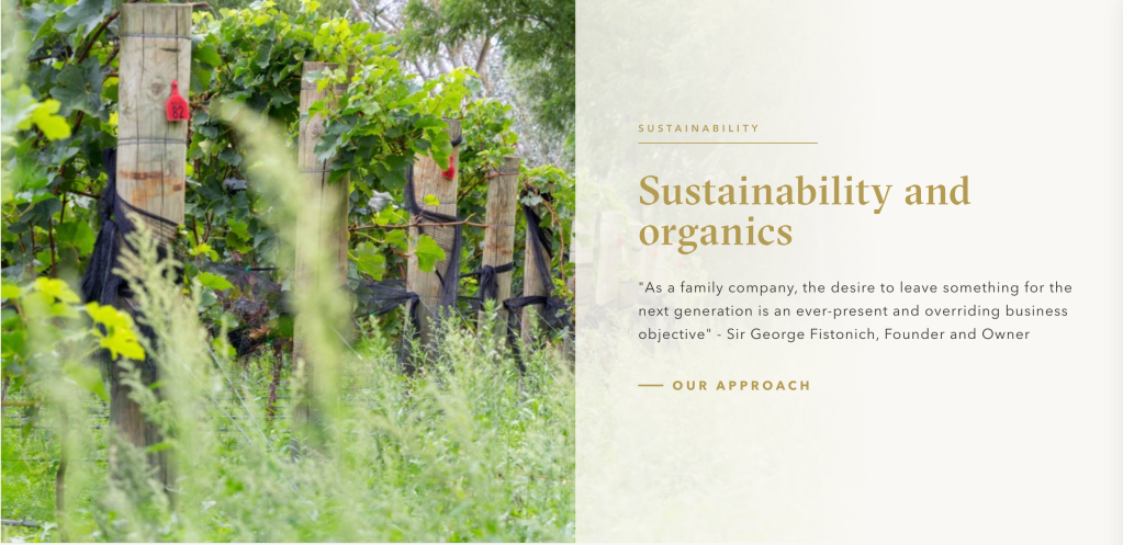 Villa MAria in New Zealand - sustainability commitment on their website