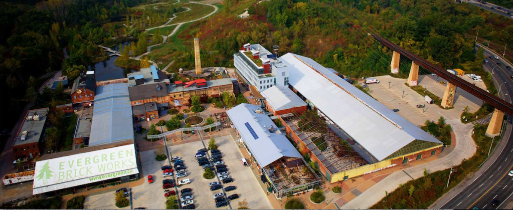 Evergreen Brick Works buildings and ravines from a birds eye view
