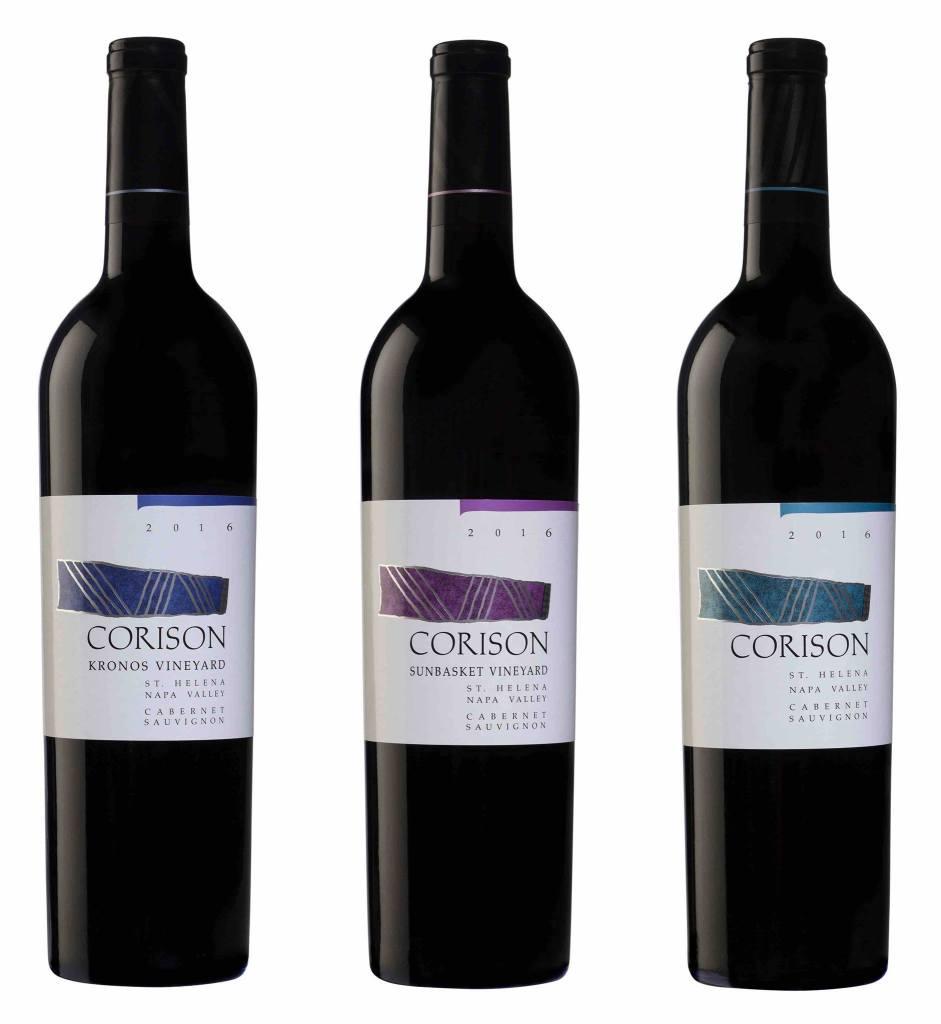 Three bottles of Corison Cabernet Sauvignon wine