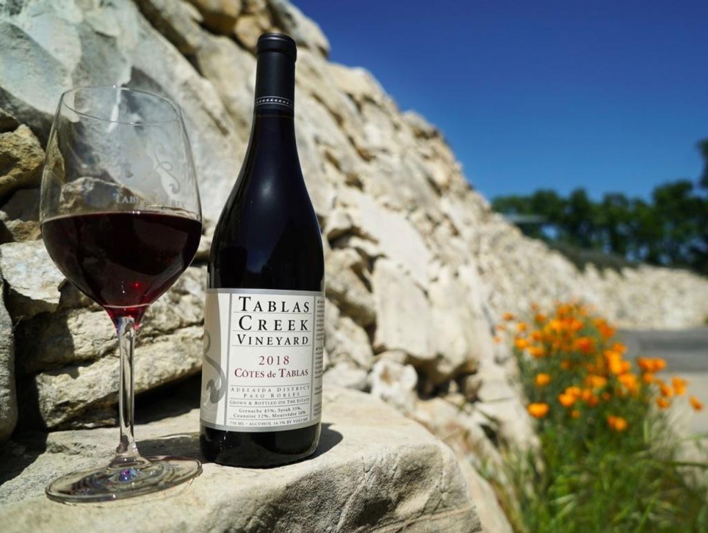 Tablas Creek bottle of wine and glass of wine
