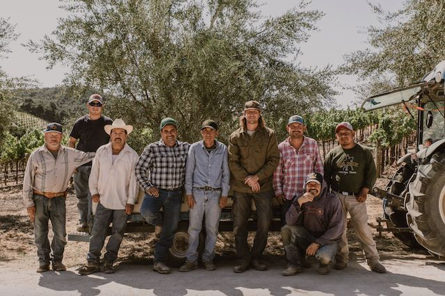 Team of men who work in vineyard at Tablas Creek