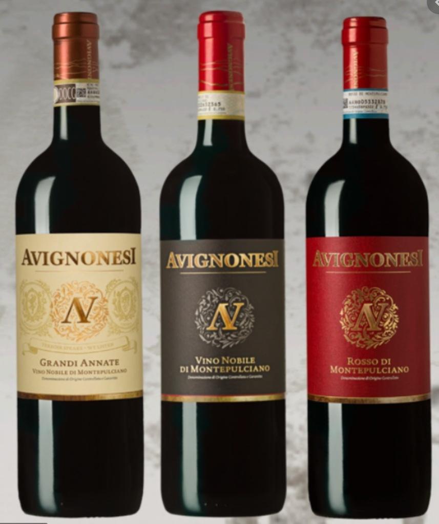 three bottles of Avignonesi red wine