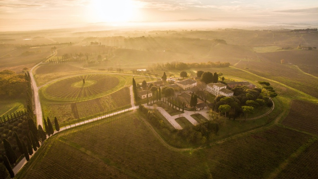 Aerial shot of the Avignonesi estate with a round vineyard