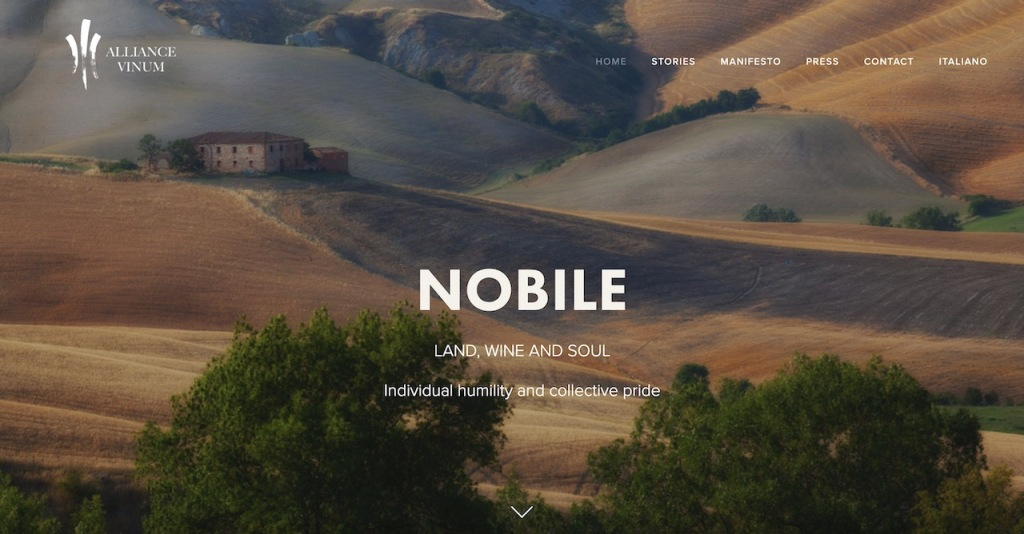 The word Nobile over top of a painted Tuscan vineyard image