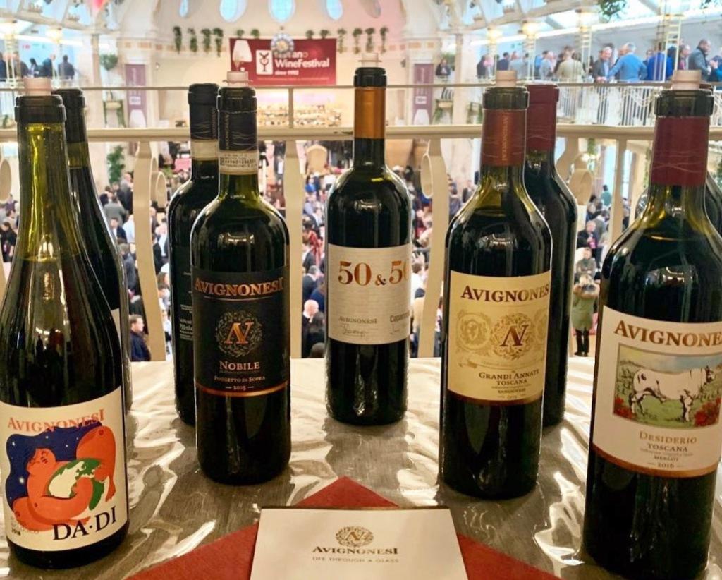 Avignonesi wine bottles on display