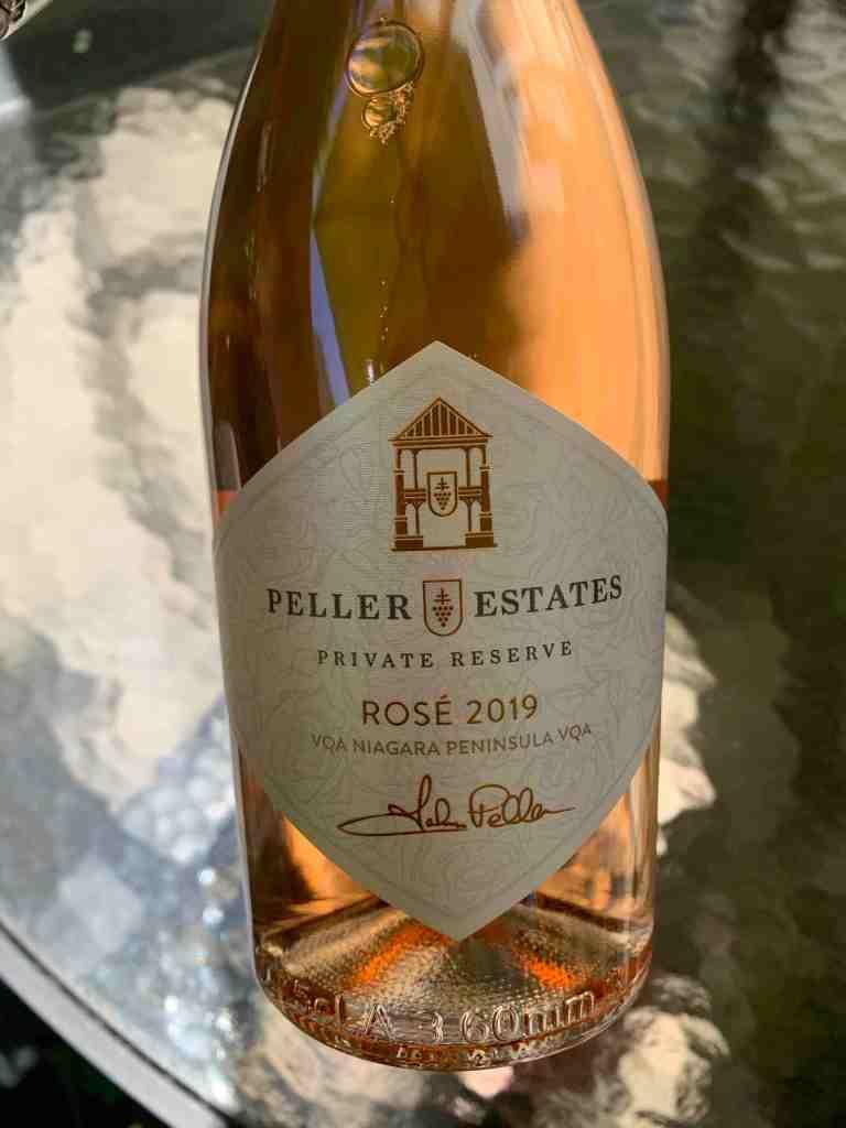 Bottle of Peller Estates Rose wine that's a pale pink